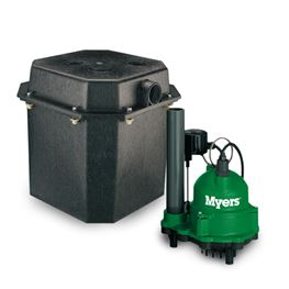 Myers ED33V1 Packaged Sump System 0.33 HP 115V 15 Cord Myers ED33 sump basin, ED33, sump pump, utility pump, dewatering pump, basement pump, effluent pump