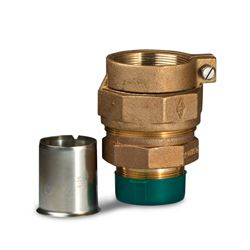 "A.Y. McDonald 74753-33 Straight Coupling MNPT Thread X PEP 2"" Brass W/ 6136 SS Pipe Stiffener ford fittings, polylock fittings, polyloc fittings, service fittings, poly pipe fittings, Brass valves, service fittings, brass fittings, A.Y. McDonald Valves, A.Y. McDonald Service Fittings, polylock fittings, ford fittings, ball valves, brass ball valves"