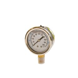 "American Granby ""Harvard"" 2.5"" Liquid Filled Pressure Gauge 0-100 PSI 1/4"" Lower Mount pressure gauge, well gauge, 0-100 PSI Gauge"