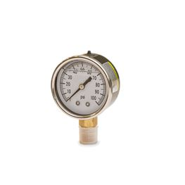 "American Granby 2"" Liquid Filled Pressure Gauge 0-100 PSI 1/4"" Lower Mount pressure gauge, well gauge, 0-100 PSI Gauge, stainless gauge, liquid filled pressure gauge"