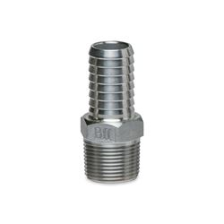"BII SSMA-100 Stainless Steel Male Adapters 1"" MPT x 1"" INS  Stainless Steel, Insert, insert fittings, ss fittings, ss insert, 90, slip slip, male adapter, ma, steel insert, brass insert, no lead"